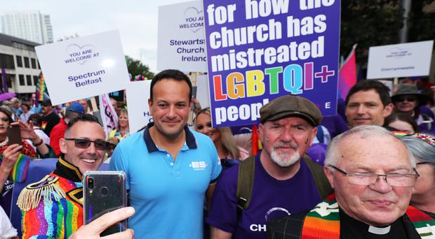 Taoiseach Leo Varadkar before the start of the Belfast Pride parade (Niall Carson/PA)