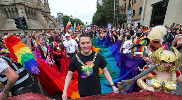 Belfast Lord Mayor John Finucane, front, at the start of the Belfast Pride parade (Niall Carson/PA)