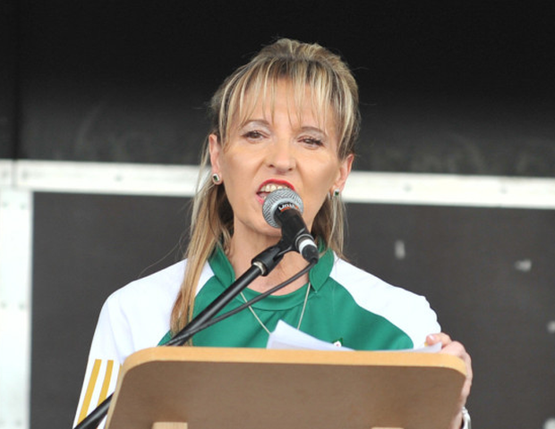 Martina Anderson speaking at the event