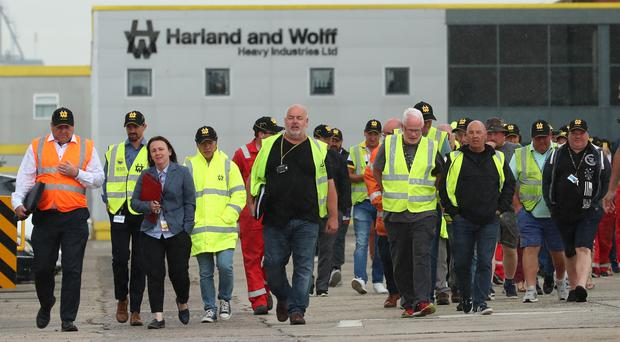 Harland and Wolff workers and supporters during a rally to save the shipyard