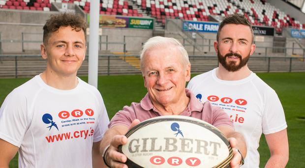 Ulster Rugby star Michael Lowry with Kevin's father Tommy and best friend Jonathan Ireland