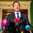 Taoiseach Leo Varadkar speaks to the media after touring Hillsborough Castle yesterday