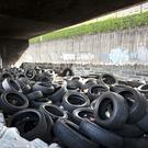 A large number of tyres being stored under the Lecky Road flyover in the Bogside