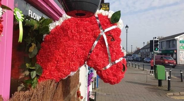 The horse wreath that was stolen from his grave