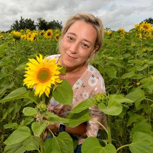 Karen McAllister in her field of sunflowers at Portglenone which is open for visitors to raise money for Macmillan Cancer Care