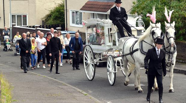 Mourners at the funeral of Shauneen Irvine