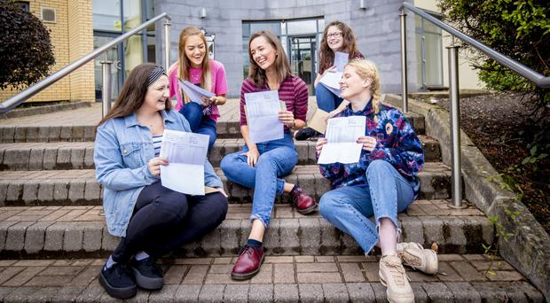 From left, pupils Molly Deazley, Emma Watson, Aoife Cooper, Hannah Kerr and Orlaith Murray during A-Level results day at Dominican College