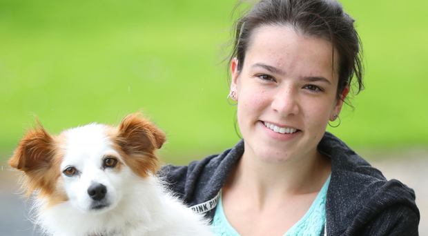 Victoria Whiteside with Daisy, who was found near Broughshane