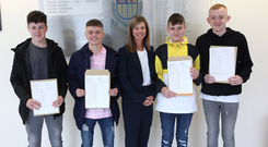 Principal Mary Montgomery with pupils Daniel McCalmont, Luke Conville, Mason Beattie and Codey McKee