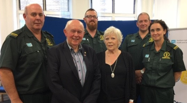 Tom Beare and his wife Doreen meet the NIAS staff who were involved in his resuscitation