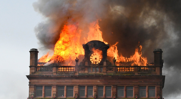 Bank Buildings burn last August