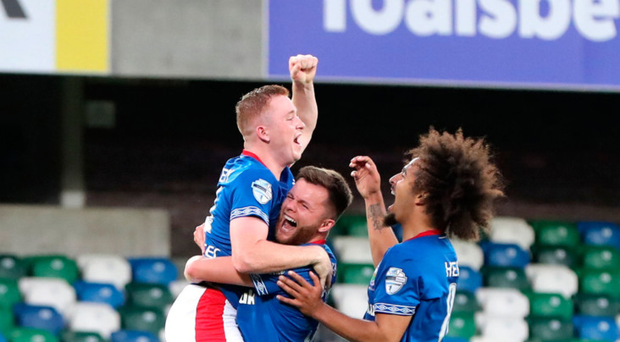 Linfield's Shayne Lavery after scoring his second goalin the Europa League play-off first leg at Windsor Park