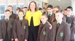 Some of the new male and female students at St Louise's with principal Mary McHenry