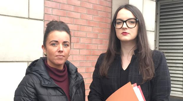 Tommy Crossan's daughter Debbie (left) outside Belfast Coroner's Court (David Young/PA)
