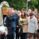 Family and friends at the funeral of actress Julie Maxwell, including mum Elaine and sister Stacey