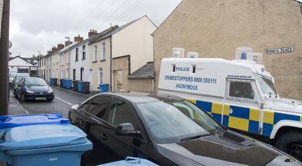 Police in Bonds Place after the pipe bomb attack