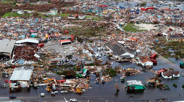 Scene of devastation in Bahamas caused by Hurricane Dorian and captured by Royal Navy helicopter