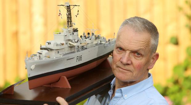 Ray McCullough with his model of HMS Amethyst