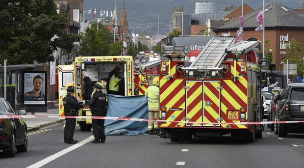 Emergency services at the scene of the accident on the Upper Newtownards Road in east Belfast