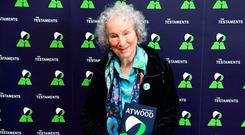 Margaret Atwood at the British Library in London at the launch of her new book: The Testaments, a sequel to The Handmaid's Tale