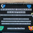 The memorial to William Edward Hampton at St Joseph's Church, Hannahstown Cemetery in west Belfast