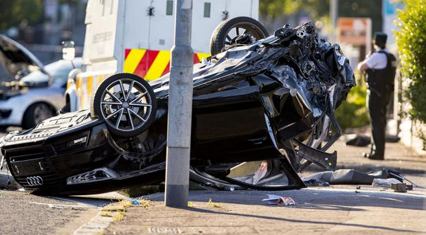 The stolen Audi after the crash on the Crumlin Road in July 2018