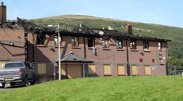 The extensive damage caused to the former school on Glen Road
