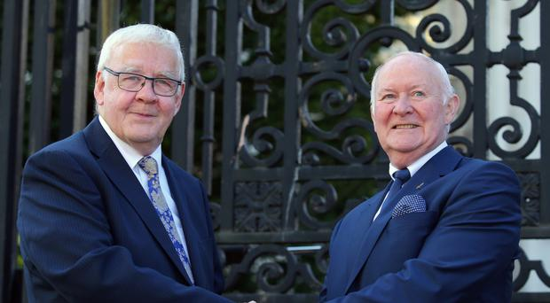 Francis McGuigan (left) and Liam Shannon, two the 'Hooded Men' outside court