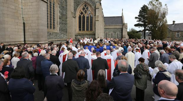 The funeral at St Eugene's Cathedral in Londonderry of former Bishop of Derry and Raphoe Seamus Hegarty