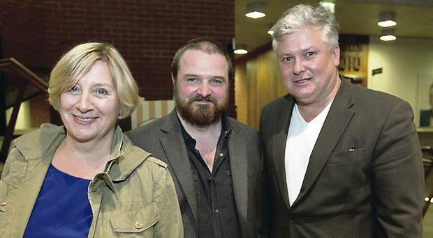 Comedian Victoria Wood with writer David Ireland and actor/director Conleth Hill