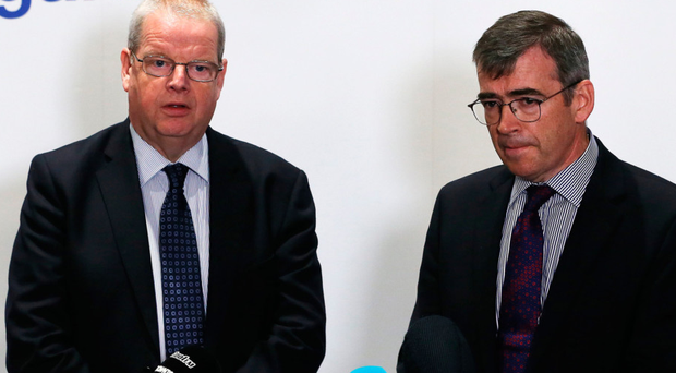 Garda Commissioner Drew Harris (right) and PSNI Chief Constable Simon Byrne speak to the media during a cross-border conference on organised crime