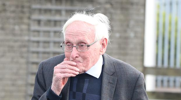 Wrightbus founder Sir William Wright arrives at Green Pastures church in Ballymena (Niall Carson/PA)
