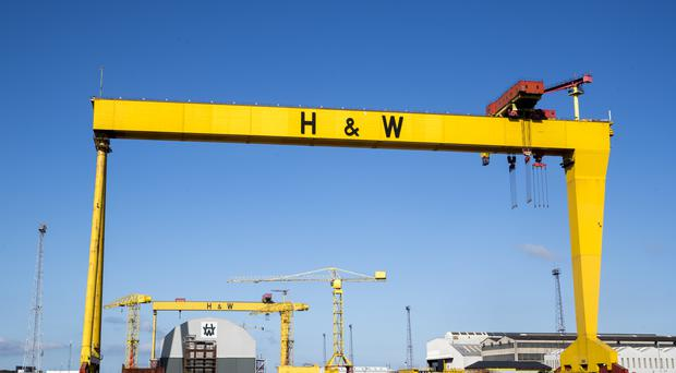 Samson and Goliath, the twin shipbuilding gantry cranes, at Harland and Wollf shipyard in Belfast, which has been bought by InfraStrata for £6m (Liam McBurney/PA)
