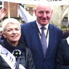 Wilma Grey from the WASPI group with politician Mark Durkan