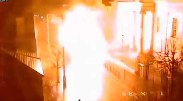 CCTV of a car bomb exploding outside the court house on Bishop Street in Londonderry (PSNI/PA)