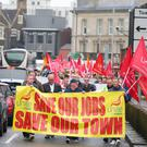 Workers at the march for jobs from Unite's Ballymena offices to the gates of the Wrightbus site in the Co Antrim town