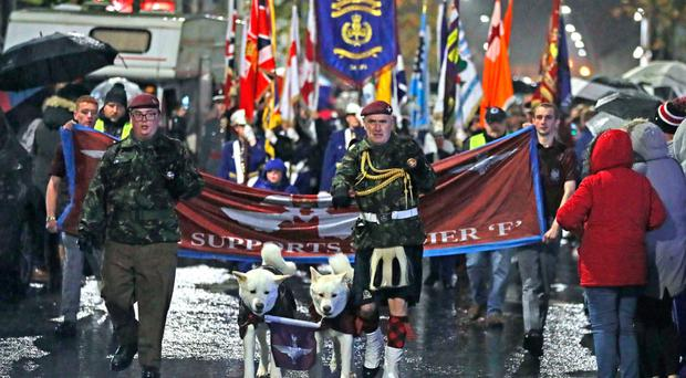 A rally in Larne on Saturday in support of the Clyde Valley Flute Band