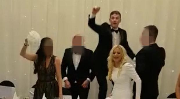 A clip of footage from the wedding reception at the Loughshore Hotel