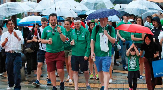 Ireland fans brave the rain in Kobe at the Rugby World Cup