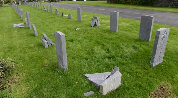 Damage to the war graves at Belfast City Cemetery