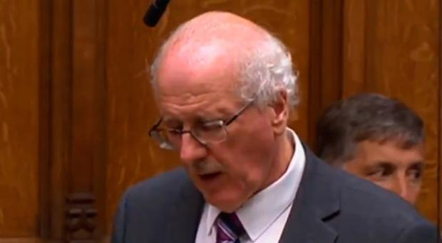 An emotional Jim Shannon in the House of Commons
