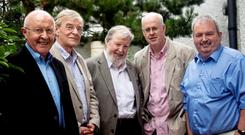 Lost Lives writers (from left) Brian Feeney, David McVea, David McKittrick, Chris Thornton and Seamus Kelters
