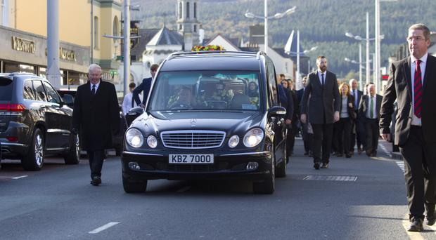 The funeral of former Down player and manager Eamonn Burns in Newcastle