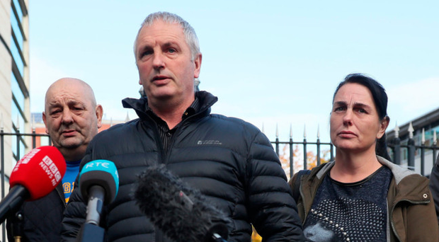IRA murder victim Jean McConville's children (from left) Thomas, Archie, Michael, Susie and Jim, speak to the media outside court yesterday