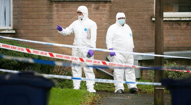 The scene at the Kings Road area of Tullycarnet in east Belfast where a man died after being stabbed on Thursday