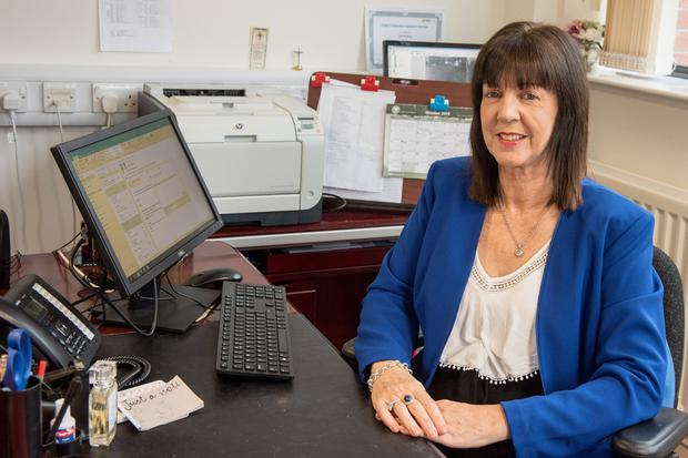 Clare Bradley in her office at Holy Cross in Strabane, Co Tyrone
