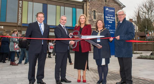 Launching the new transport hub in Londonderry are Michael Spillane, Department Transport, Tourism and Sport, Chris Conway, Translink Group Chief Executive, Gina McIntyre of SEUPB, Councillor Michaela Boyle, Mayor Derry City and Strabane District Council, and John McGrath, DfI