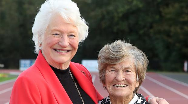 Olympic champion Lady Mary Peters with Maeve Kyle OBE, Irish Olympic athlete and hockey player, at the launch of Passing The Torch