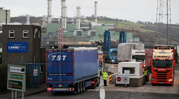 Vehicles arrive at Larne Port in Northern Ireland (Brian Lawless/PA)