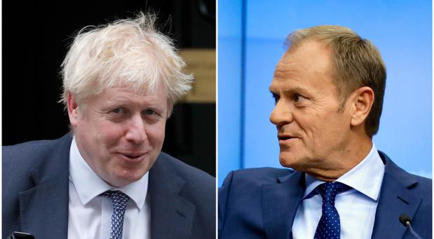 Boris Johnson and Donald Tusk (PA/AP)